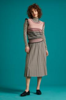 Border Plisse Skirt Candy Stripe