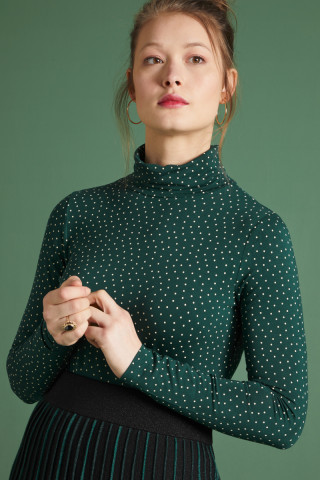 Betsy Rollneck Top Little Dots