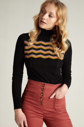 Rollneck Top Zigzag