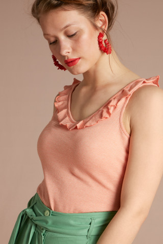 Vicky Ruffle Top Imperial Stripe