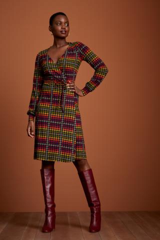 Mandy Wrap Dress Houndstooth