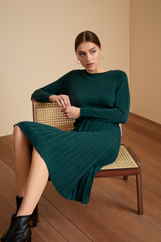 Plisse Knit Dress Azul
