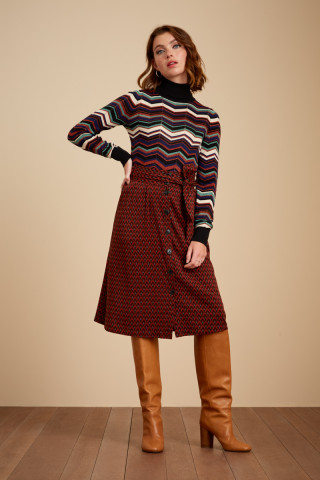 Lola Button Skirt Earl Grey