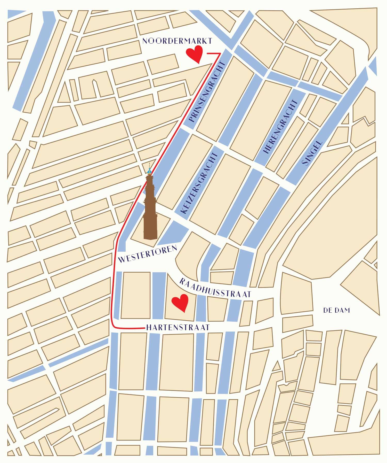 Route vom King Louie Flagship Store zum Outlet auf dem Noordermarkt